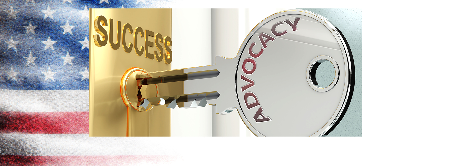 Advocacy and success on a key in lock.
