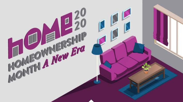 Homeownership 2020 living room graphic design.