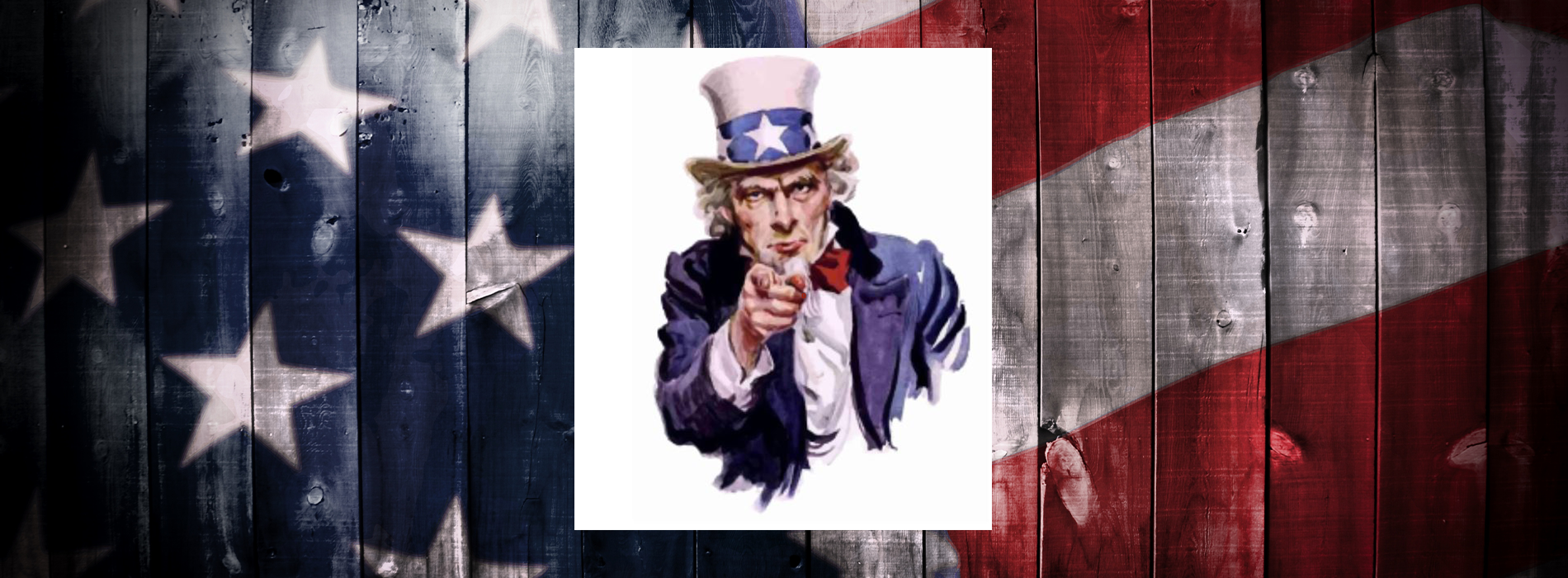 Uncle Sam pointing with US flag behind him.